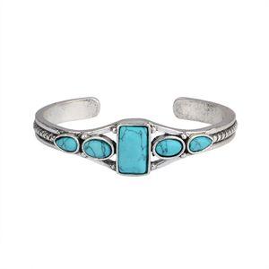 Boho Gypsy Vintage Carved Hollow Geometric Open Bangle Turquoises Gem Stone Bead Cuff Bangle Bracelet Women Fashion Jewelry