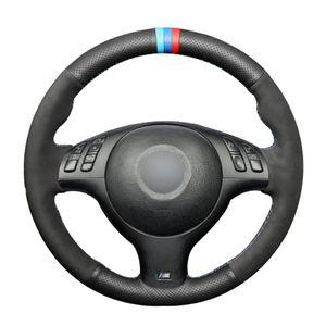 BMW E46 E39 330i 540i 525i 530i 330Ci M3 2001-2003 Black Doğal Deri Siyah Süet Araç Direksiyon Kapak