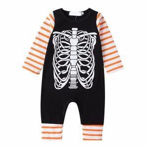 Giyim Tırmanma Bebek Boys Pamuk Bodysuit Uzun Kollu Yenidoğan Kızlar Yuvarlak Yaka Jumpsuit Cadılar Bayramı İskelet Desen Bebek Çocuk