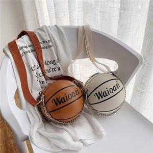 Kişiselleştirilmiş basketbol çanta Moda Kadınlar Zincirler Çanta Mektupları Baskı Omuz Çantası Kadın Mini Yuvarlak Bez Küçük Çantalar
