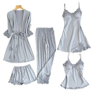 Pigiama donna 5 pezzi in pigiama di raso pigiama di seta abbigliamento casa abbigliamento casa ricamo pigiama salotto con padiglioni J190613