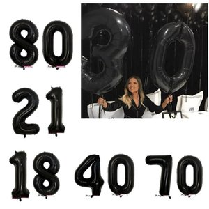 40inch black Balloon Banner 18 21 30 40 50 60 Birthday Party Decoration Adult Birthday Letter Number Foil Balloon Kids Globos