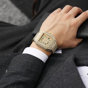 Glitzernde Luxuxmann Platz Diamant-Uhr-Quarz-Voll Hip-Hop-Big Wasserdicht Automatik Datum Uhr der Männer Casual Male Clock Dial gefror heraus