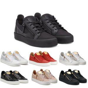SH-039 High Fashion Genuine Leather Zipper Black, Pink, White Women and Men Low Top Casual Shoe