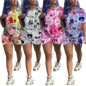 신문 인쇄 여성 운동복 반팔 T 셔츠 탑 + 반바지 2 벌의 양복 여름 T 셔츠 의상 패션 디자인 스포츠 의류 세트