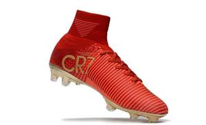 Kırmızı Altın% 100 Orijinal Futbol CR7 Cristiano Ronaldo Erkekler Mercurial Superfly FG TF Futbol Boots Sneakers İyi Kalite Futbol Profilli Ayakkabı