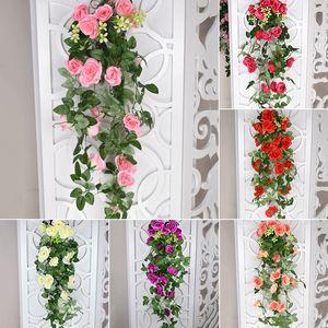 5-Форкс 18Heads Искусственных цветов Ivy Vine Поддельные Шелковые Розы для декора дома Свадебного висячие гирлянды цветов с зелеными листами