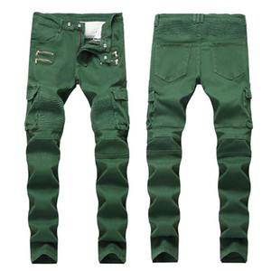 Faltig dünne mittlere Taillen-Jeans Männer Armee-Grün Taschen Herren Jeans mit geradem Schnitt mit Reißverschluss Fashion Male Bekleidung