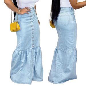 Женщины Демин Юбка Плюс Размер Повседневная Труба Streetwear высокой талией Русалка Юбка Bodycon бинты длиной до пола юбки
