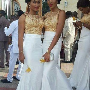 2020 Oro y blanco de encaje apliques sirena vestidos de noche del vestido de la dama de honor de longitud de Ankara Equipos de clientes Vestidos de fiesta africana