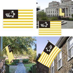 Nueva bandera americana de los 90 * 150cm americana símbolo de la bandera recuerdo de la bandera amarilla de la raya blanca Manny de unidad y paz