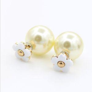 New Arrivals Pearl Earrings Drip oil flower ear studs Fashion Pearl Jewelry Pearl stud free shipping