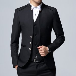(jacket + Vest + pants) Men's three-piece set S-4XL Black Blue Wine Red Mens Suits 2019 T190910