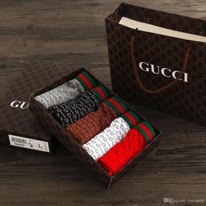 100% cotone traspirante G Old stampato Intimo uomo Pantaloncini Mutande Vita stretta Mutande Mens Pugili Designer Pugili 5pz + Box Tote