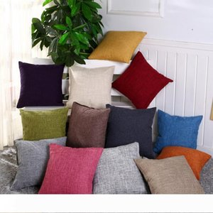 Pillow Case 45*45cm Linen Throw Cushion Cover Home Decoration Sofa Bed Decor Decorative Solid Waist Pillowcase 40*40cm Pillow Cover 50*50cm