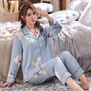 Lovers Pajamas Couples Unisex Silk Sleepwear Soft Pyjama Sets Women Pajama Sets Long Sleeve Men Lounge Pijamas