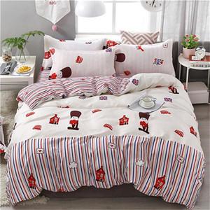 4PCS / مجموعة نمط مجموعة مفروشات الحب الفراولة الوردي سرير بطانات غطاء لحاف السرير ورقة سادات تغطية مجموعة شحن مجاني