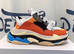 2019 Laranja 17FW Tripe S Caminhada Skate Sapatos Momens Conforto Sapatos Inteligentes Mens Dake Esportes Velhos Esportivos Andando Chaussures Sneakers