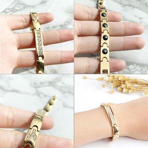 FINE4U B074 Zircons Women Magnetic Health Bracelets & Bangles 316L Stainless Steel Energy Healthy Bracelet For Women Jewelry