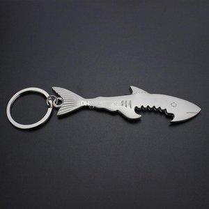SHARK Bottle Opener Keychain chiave del metallo bottiglia da birra dell'anello apri catene chiave del regalo creativo Bar Kitchen barware DHL WX9-1800