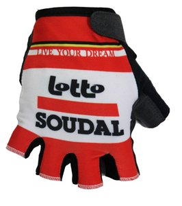 Hot Sale 2015 LOTTO SOUDAL PRO TEAM RED Cycling Bike Gloves Bicycle Gel Shockproof Sports Half Finger Glove