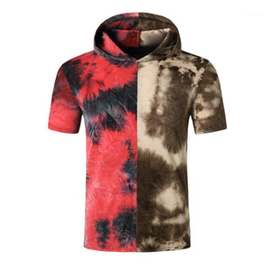 T Shirt Kontrast Renk Kısa Kollu Gradyan Kapşonlu Erkek Casual Erkek Giyim Yaz Erkek Designer Tops