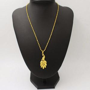 Colares de pingente moda 24k Gargantilha de ouro Colar de cadeia mulheres pavão jóias collier Halskette 2021