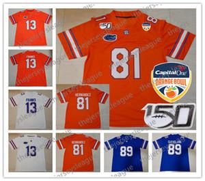 فلوريدا غتورس 2020 جديد البرتقال السلطانية # 13 Feleipe فرانكس 81 آرون هرنانديز 22 إميت سميث مخيط ال150 أزرق أبيض NCAA كرة القدم جيرسي