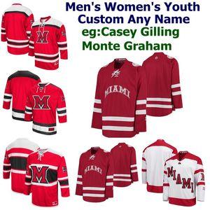 Johnson Jersey Carter encargo Miami RedHawks Colegio jerseys del hockey de los hombres de Alec Mahalak Rourke Russell Bray Crowder Andrew Sinard cosido