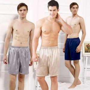 Casual solto dos homens de seda de cetim pijama shorts verão sleepwear roupa interior macia pijama sexy nightwear cuecas pijama homme