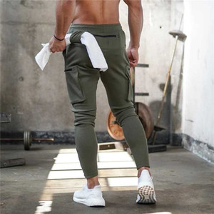 Pantalones de chándal para hombre Jogger Pnats hombre gimnasios entrenamiento Fitness algodón pantalones hombre Casual moda Skinny Track pantalones cremallera diseño Pantalones
