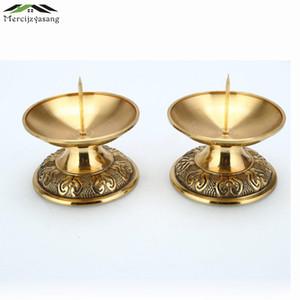 I titolari Retro candela 2PCS / LOT metallo votiva Candeliere Lotus per il quotidiano Pregate Holder Buddha Candelabri Butter Lamp buddista GZT025 SH190924