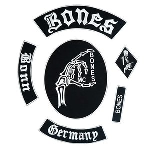 BONES GERMANY großes punkbesticktes Eisen auf Biker-Patch-Emblem für Jackenjeans 6 Stück / SET