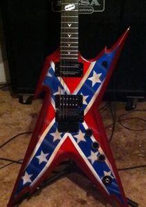 Dean Razorback sur mesure Wash Dime 333 Dimebag Darrell Signature Rebel drapeau confédéré rouge guitare électrique Floyd Rose Tremolo, Matériel noir