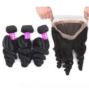 9A malesi del Virgin dei capelli Bundle Con 360 Frontal del merletto Chiusura allentata profonda Water Wave estensione dei capelli umani 3Bundles e Full Frontal 360 Lace