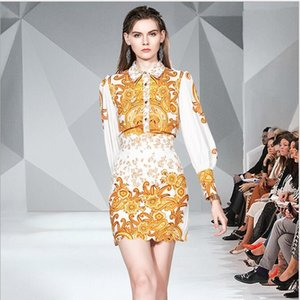Runway Fashion spring Vintage Suit Women Golden Printed Shirt Top+High Waist Slim Mini Skirt Suit Two Piece Set