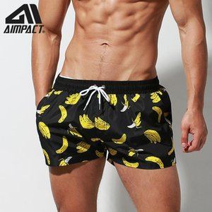 Aimpact Fast Dry Board Shorts for Men Banana Printing Sexy Swim Trunks Holiday Surf Beachwear Waterwear Hybird Shorts DT95 CX200605