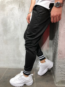 2019 Mens 하이 스트리트 스타일 운동복 바지 공동 힙합 유럽 스타일 면화 Materail 레저 발목 줄무늬 바지
