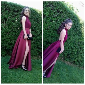 High Neck 2020 Slit Sexy Backless Prom Dresses Formal Long Vestidos De Soire Cheap Women Evening Party Gowns Plus Size