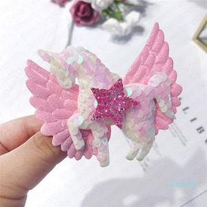 INS Çocuk Kız ışıldamaya Unicorn Bobby Saç Pin Wings Bow Saç Klipler Sequins Glitter Barrette Saç Aksesuarları E4908