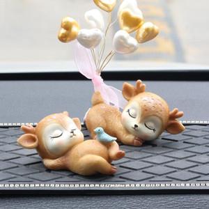Résine Dormir Bébé Cerf Mini 3D Elk De Noël Ornements Mignon Décor pour La Maison Jardin Voiture Xmas Party Table Décoration Enfants Cadeau