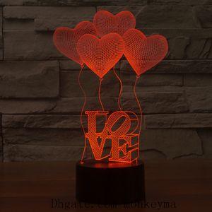 Amare LED 3D Cuore lampada creativa 3D LED di notte di tocco luci novità Illusion lampada di notte di nozze da letto lampada da tavolo decorativa domestica
