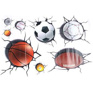 3D Football Basketball Crack Decal Wall Sticker Mural Boys Room Decor