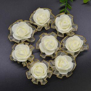 20 piezas Mini 3 cm espuma de seda rosa cabezas de flores artificiales blanco beige rosa flor de la boda decoración Scrapbooking flor rosa falsa
