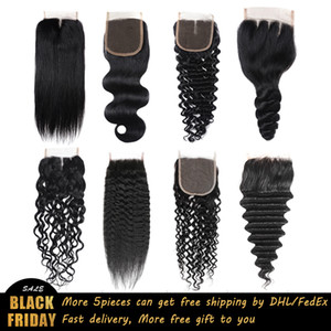 Brazilian Virgin Human Hair Weave Closures Body Wave Loose Wave Deep Wave Straight Kinky Straight Natural Black 4x4 Lace Closures Ms Joli