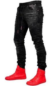 Mens Clothing elástico na cintura Jean calças compridas Calças Calças Mens Designer Preto Sports Jogger Jeans