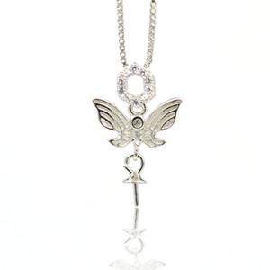 montaje de ajuste de plata de ley 925 colgante de perlas soporte de bricolaje collar pendiente accesorios semiacabados micro-incrustaciones collar de mariposa