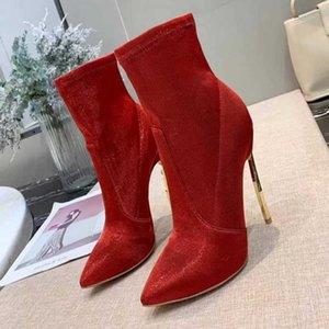 Mujeres de calidad superior Blade Botas de tacón Botas de tobillo de invierno Mujeres Metal Thin High Heels Shoes Red Gold punta estrecha botas cortas tamaño 35-41