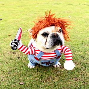 Pet Köpek bir Bıçak Cadılar Bayramı Noel Kostüm Yenilik Komik Hayvan Kedi Partisi Cosplay Giyim Giyim Cadılar Bayramı Giyim Köpekler Holding