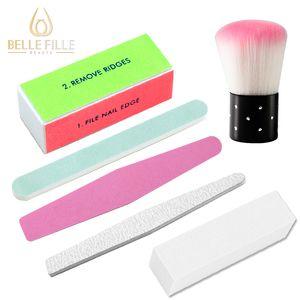 Belle Fille 6 piezas Nail Art / set herramienta de la manicura de acrílico polaco Archivos Pincel de limpieza Buffer Esponja Bloque Pulido Grit arena Gel UV